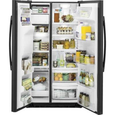 21.9 cu. ft. Side by Side Refrigerator in Black, Counter Depth