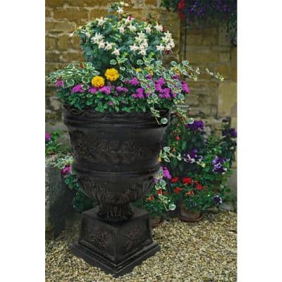 26 in. H. Charcoal Cast Stone Rose Urn