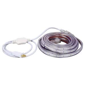 16.4 ft. 30-Watt Plug-In Outdoor Flex LED Landscape Lighting Set Deck Rail Light Daylight White 6500K, White