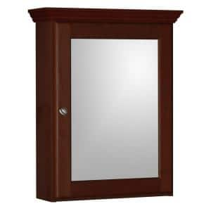 Ultraline 19 in. W x 27 in. H x 6-1/2 in. D Framed Surface-Mount Bathroom Medicine Cabinet in Dark Alder