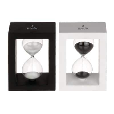 Black Wood Contemporary Timer (Set of 2)