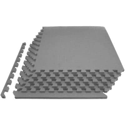 Thick Exercise Puzzle Mat Grey 24 in. x 24 in. x 0.75 in. EVA Foam Interlocking Anti-Fatigue (6-pack) (24 sq. ft.)