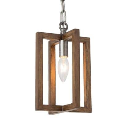 Eliora 1-Light Rustic Farmhouse Pendant Light Brown Transitional Kitchen Island Chandelier with Faux Wood Accents