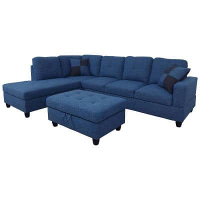 3-Piece Blue Microfiber 4-Seater L-Shaped Right-Facing Chaise Sectional Sofa with Ottoman