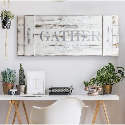 Gather Wood Plank Decorative Sign