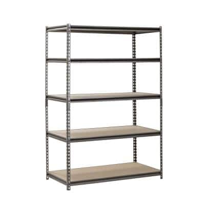 Silver 5-Tier Boltless Steel Garage Storage Shelving (48 in. W x 72 in. H x 24 in. D)