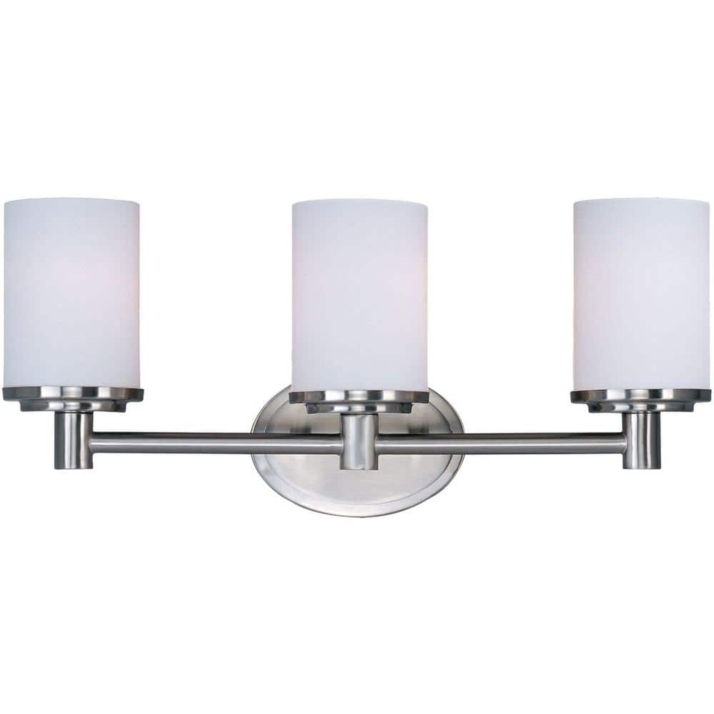 Maxim Lighting Cylinder 3 Light Satin Nickel Bath Vanity Light 9053swsn The Home Depot