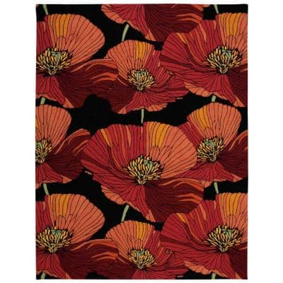 Fantasy Black 8 ft. x 11 ft. Floral Contemporary Area Rug