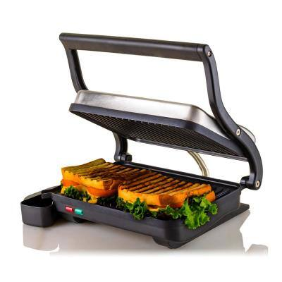 Nickel Brushed Electric Panini Press Grill, 2-Slice, Drip Tray Included