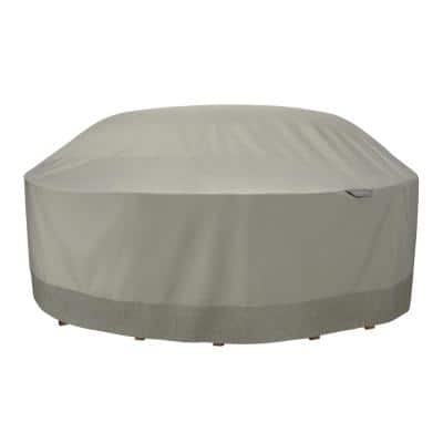 Weekend 106 in. Outdoor Round Table and Chair Cover with Integrated Duck Dome in Moon Rock