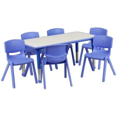 Blue 7-Piece Table and Chair Set