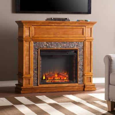 Auburn 45.5 in. Faux Stone Media Electric Fireplace TV Stand in Brown Sienna