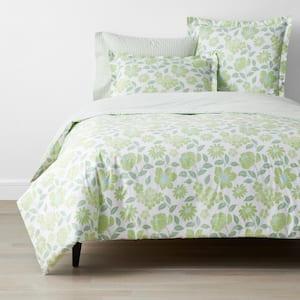 Company Cotton Garden Spray Green Botanical Full Percale Duvet Cover