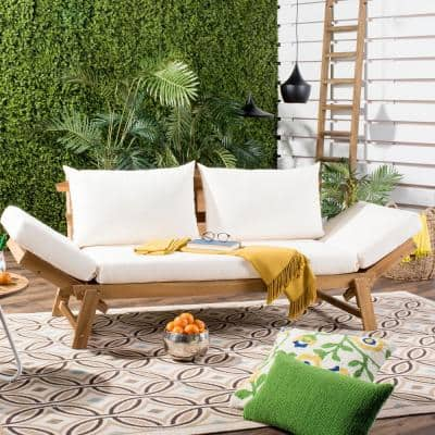 Tandra Natural Brown 1-Piece Wood Outdoor Day Bed with Beige Cushions