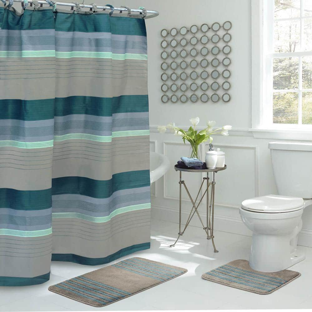 Bath Fusion Regent Stripe 30 In L X 18 In W 15 Piece Bath Rug And Shower Curtain Set In Blue And Grey Ymb006535 The Home Depot