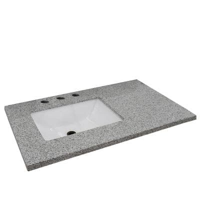 37 in. W x 22 in. D x 2 in. H Gray Granite Vanity Top with Left Side Rectangular Sink