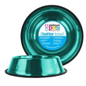 Embossed Non-Tip Stainless Steel Cat/Dog Bowl, Caribbean Teal