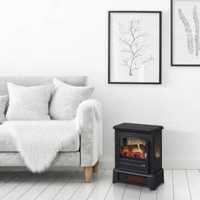 1000 sq. ft. Black Freestanding Electric 3D Infrared Stove