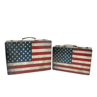 14.5 in. to 17 in. Rustic American Flag Rectangular Wooden Decorative Storage Boxes (Set of 2)