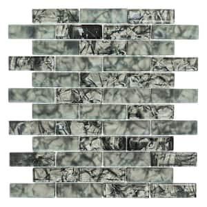 Black Magic 11.625 in. x 10.25 in.  Interlocking Glossy Glass Mosaic Tile (0.827 sq. ft/Each)