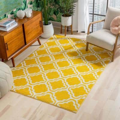 StarBright Calipso Yellow 3 ft. x 5 ft. Kids Area Rug