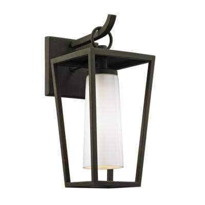 Mission Beach 1-Light Textured Black 13.5 in. H Outdoor Wall Lantern Sconce with Opal White Glass