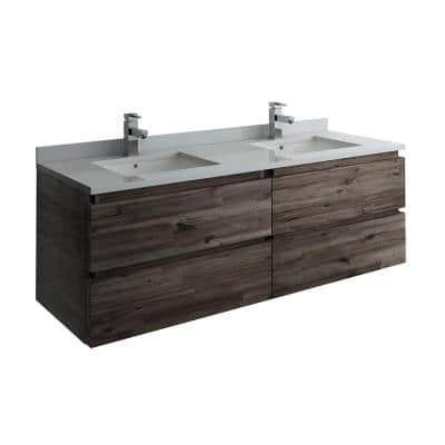 Formosa 58 in. W Modern Double Wall Hung Vanity Cabinet Only in Warm Gray