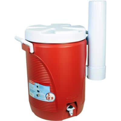 5 Gal. Red Water Cooler with Cup Dispenser