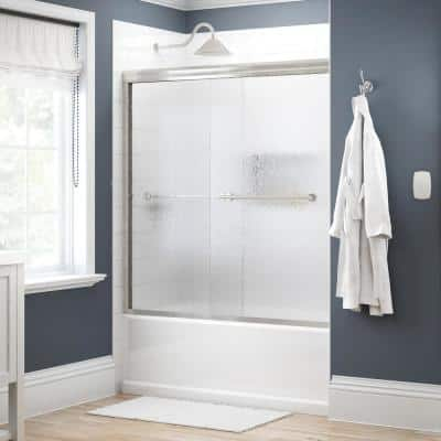 Crestfield 60 in. x 58-1/8 in. Traditional Semi-Frameless Sliding Bathtub Door in Nickel and 1/4 in. (6mm) Rain Glass