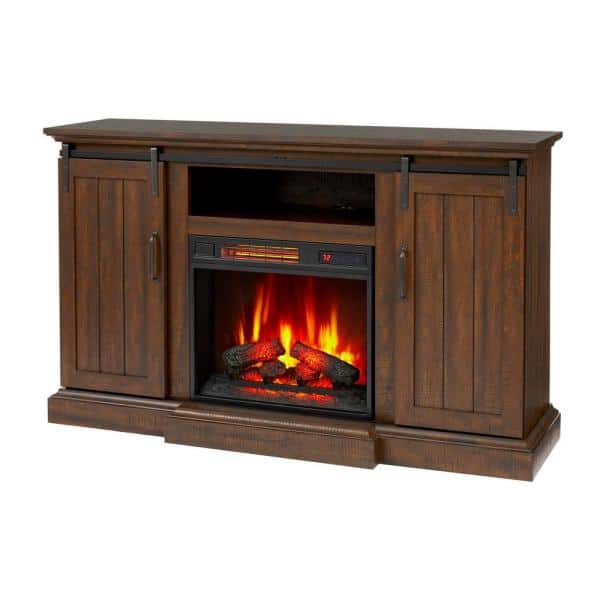Home Decorators Collection Kerrington 60 In Freestanding Media Console Electric Fireplace With Barn Door In Rustic Walnut 140121 The Home Depot