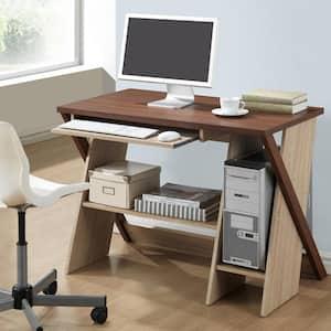 47.2 in. Rectangular White/Dark Brown 2 Drawer Writing Desks with Keyboard Tray