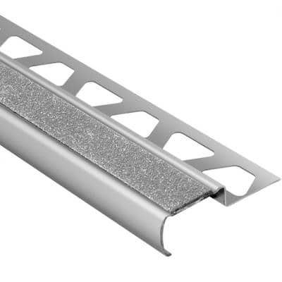 Trep-G-B Brushed Stainless Steel/Transparent 11/32 in. x 8 ft. 2-1/2 in. Metal Stair Nose Tile Edging Trim