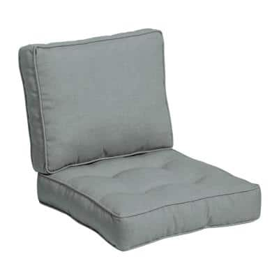 Plush BlowFill 24 in. x 19 in. 2-Piece Deep Seating Outdoor Lounge Chair Cushion in Stone Grey Leala