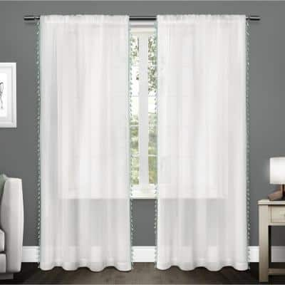 Seafoam Tassel Rod Pocket Sheer Curtain - 54 in. W x 96 in. L  (Set of 2)