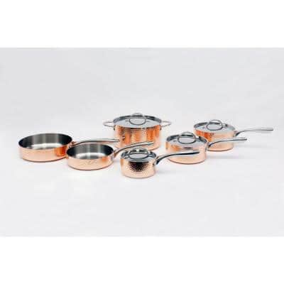 Vintage Collection 10-Piece Stainless Steel Cookware Set in Copper