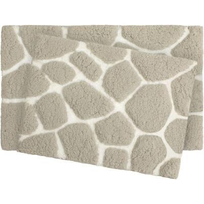 Super Plush Light Gray/White 20 in. x 32 in. Pebble Microfiber 2-Piece Bath Rug