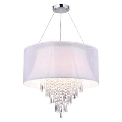 4-Light Chrome Round Crystal Chandelier with White Fabric Drum Shade