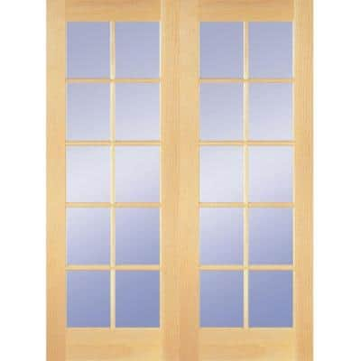 48 in. x 80 in. 10-Lite Clear Wood Pine Prehung Interior French Door