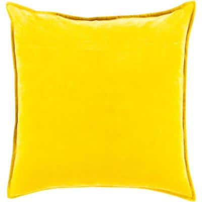 Velizh Mustard Solid Polyester 18 in. x 18 in. Throw Pillow