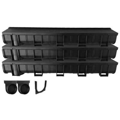 Deep Series Invisible Edge 9.84 ft. L x 5.4 in. W x 5.4 in. H Trench and Channel Drain Kit with End Caps and Connector
