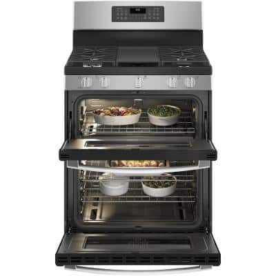 30 in. 6.8 cu. ft. Double Oven Gas Range with Steam-Cleaning Convection Oven in Stainless Steel