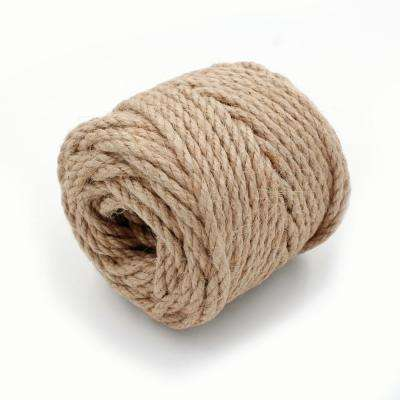 Project Craft Skein of 3-Ply Brown Jute Twine Cord for Decor, Gifts and Macrame, 6.4 oz.