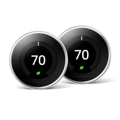 Nest Learning Thermostat 3rd Gen in Polished Steel (2-Pack) - Home Depot Exclusive