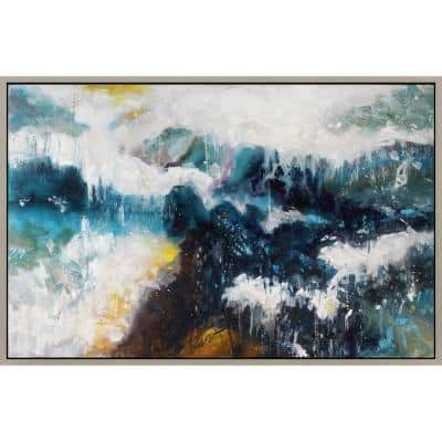 """2.5 in. x 55 in. """"Whitecaps"""" Framed Hand Painted Canvas Wall Art"""