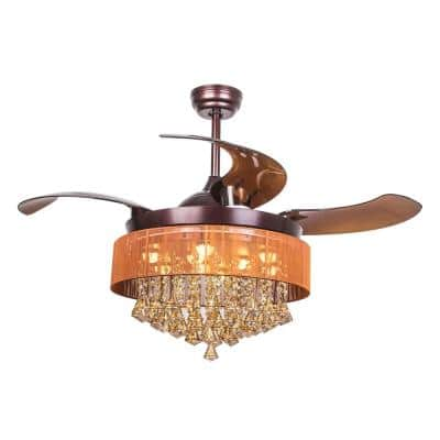 Broxburne 46 in. LED Indoor Bronze Downrod Mount Retractable Ceiling Fan with Light Kit Remote Control