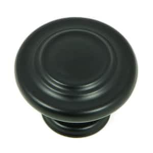Three-Ring 1-1/4 in. Matte Black Round Cabinet Knob (25-Pack)