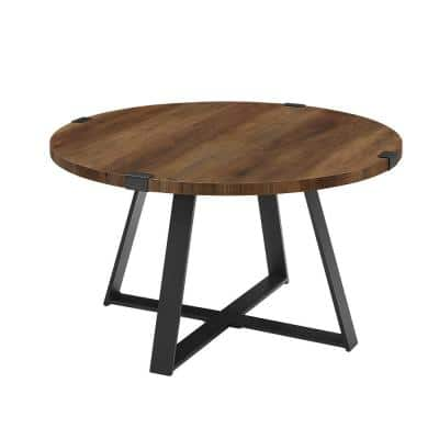 Urban Industrial 31 in. Rustic Oak/Black Medium Oval MDF Coffee Table