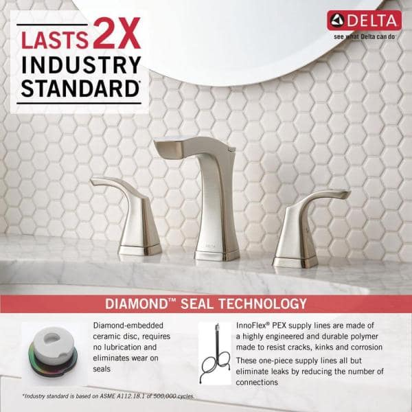 Delta Tesla 8 In Widespread 2 Handle Bathroom Faucet With Metal Drain Assembly In Stainless 3552 Ssmpu Dst The Home Depot