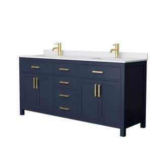 Beckett 72 in. W x 22 in. D Double Vanity in Dark Blue with Cultured Marble Vanity Top in White with White Basins
