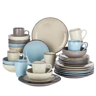 Navia Nature Multi-colors 32-Pieces Stoneware Dinnerware Sets with Dinner Plate, Dessert Plate, Bowl ,Mug,Service for 8